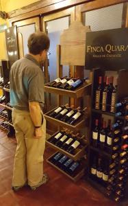 Checking out the wines on offer