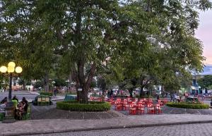 Jardín, plaza outside church