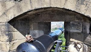 Manning a cannon at Edinburgh Castle