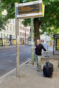 Robert at the tram stop