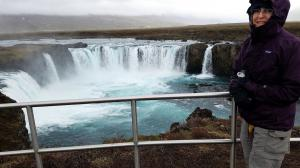 Liza shivering at Godafoss