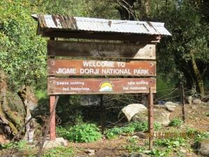 Entrance to Jigme Dorji National Park