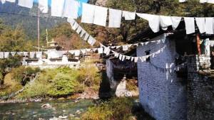 Flag-festooned bridge, Jigme Dorji NP