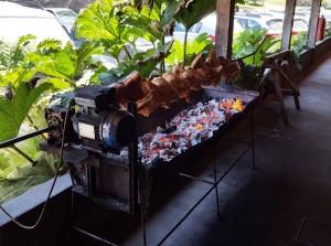 Grilling meats at Rancho Espantapajaros