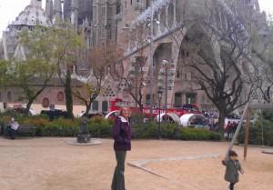 Liza outside Sagrada Família