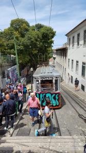 Funicular de Glória up to the Bairro Alto
