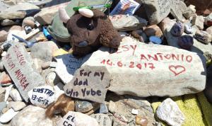 With Liza's memorial stone at the Cruz de Hierro