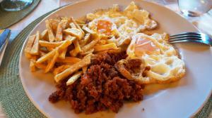 Chorizo and eggs for dinner at Hostal Almanzor