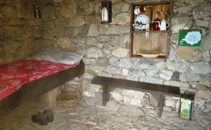 A shepherd's cabin on display
