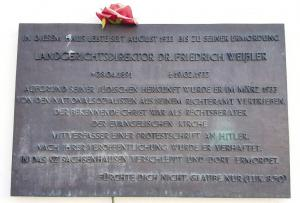 Plaque at the entrance commemorating Friedrich